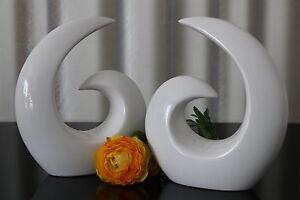 2-moderne-Deko-Skulpturen-aus-Keramik-Design-Figur-weiss-21cm-abstrakt