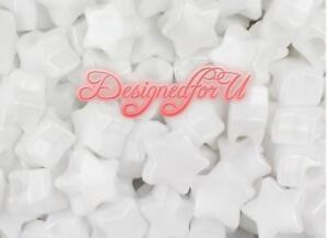 3-FOR-2-50-x-White-Pearl-Star-Shape-13mm-High-Quality-Pony-Beads