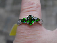 Platinum/ss Tgw 0.91cts Genuine Russian Diopside, Dia. 3 Stone Ring Sizeable 6