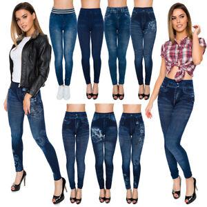 Womens-Skinny-High-Waist-Leggings-Denim-Imitation-Pants-Solid-Soft-Jeggings-FSDS