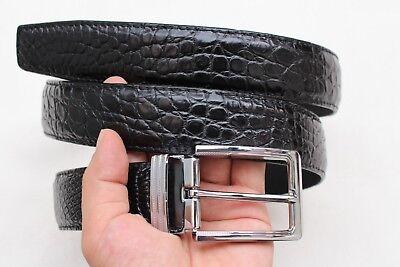 Black Genuine Alligator CROCODILE Belt Skin Leather Men/'s Accessories #T005