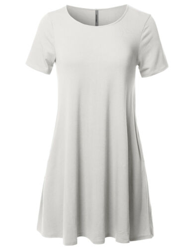 FashionOutfit Women/'s Solid Round Neck Short Sleeves Dress with Side Pockets