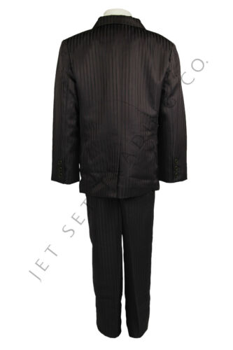 BOYS 5 PCS DARK BROWN TONE AND TONE SUIT COAT PANT SET  SIZES 4-20