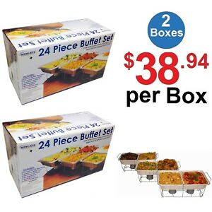 Food-Buffet-Set-Serve-Rite-Catering-Party-Aluminum-Warmer-Chafing-24-Piece-2-SET