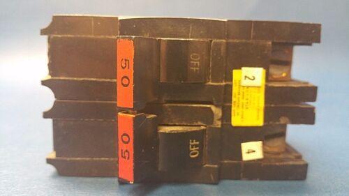 50 AMP Federal Pacific FPE Stab-Lok 2 Pole Type NA NA250 Copper Terminal Breaker