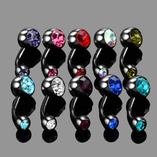 10pcs Stainless Steel Belly Button Ring Navel Bars Ring Body Piercing 14G