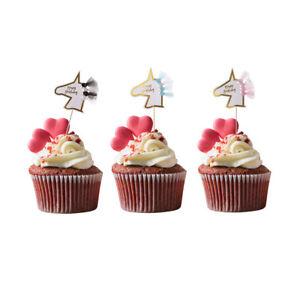 Image Is Loading Happy Birthday Unicorn Cupcake Picks Cake Topper Baby