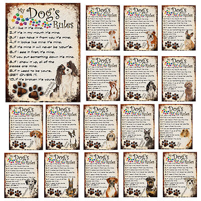 MY DOG/'S RULES RETRO STYLE METAL TIN SIGN//PLAQUE LAKELAND TERRIER THEME