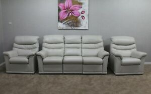 G-Plan-Malvern-Capri-Chalk-Leather-Electric-3-Seater-Sofa-amp-2-Static-Armchairs