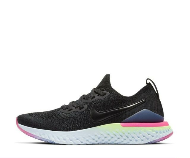 Girls Nike Epic React Flyknit 2 AQ3243-003 Black/Sapphire New Size 6.5Y
