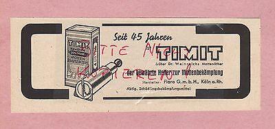 Aufrichtig KÖln, Werbung 1942, Timit Motten-bekämpfung Fiora Gmbh