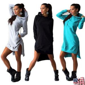 Women Long Sleevele Hooded Sweatshirt Pocket Sport Jumper Pullover Tunic Dress