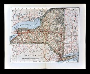 1903 Dodd Mead Map - New York - NY City Long Island Albany Niagara ...