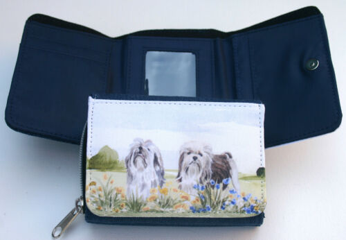LOWCHEN LITTLE LION DOG DENIM BLUE FABRIC PURSE WATERCOLOUR PRINT SANDRA COEN