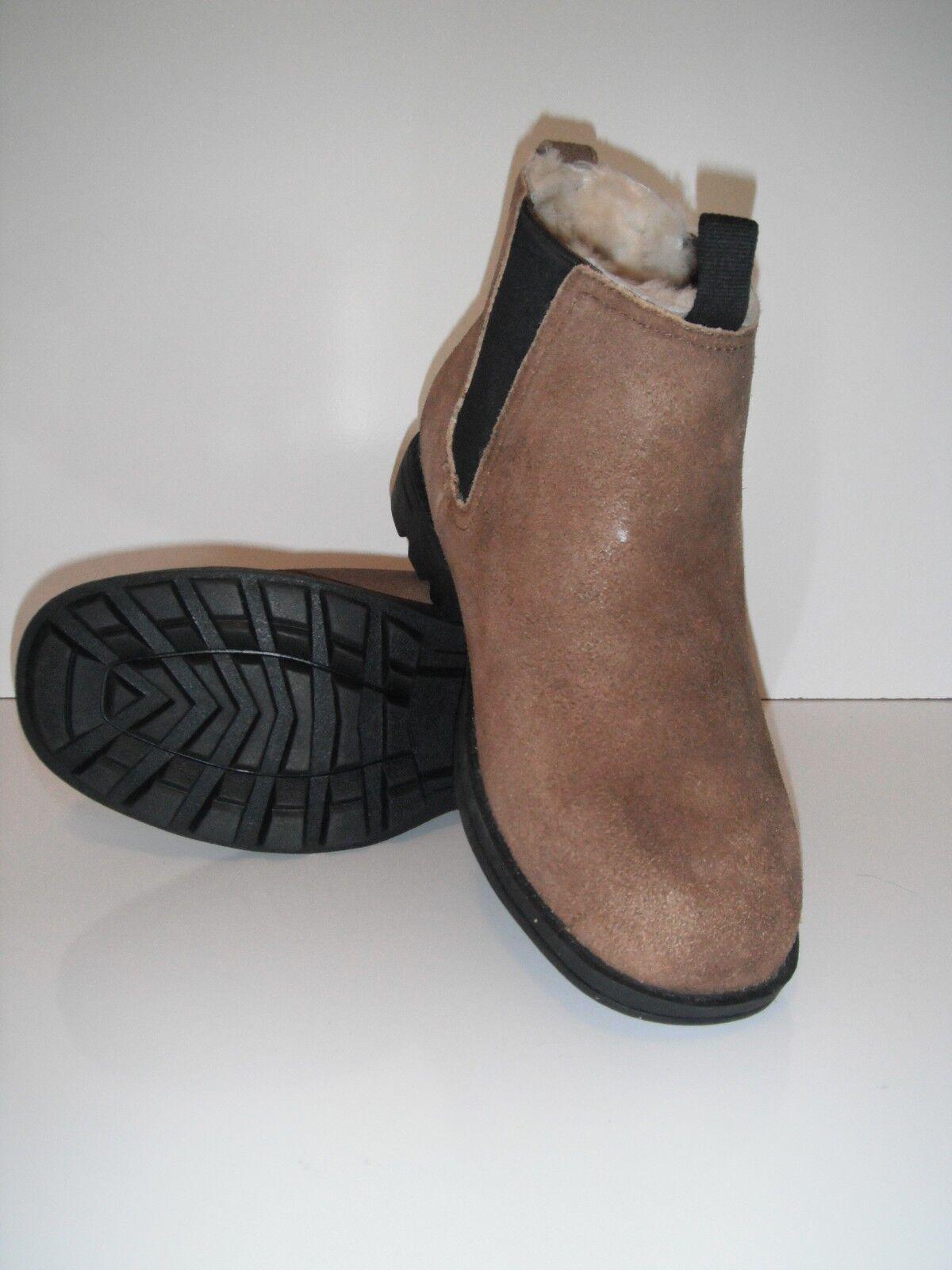New Bearpaw Larkin II Brown Pressed Suede Sheepskin Winter Footbed Boot sz 9