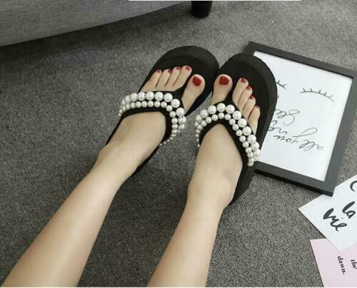 Details about  /Summer Womens Pearls Clip On Slippers Wedge High Heels Beach Thong Sandals VICT