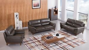 Details about 3 PC Italian Top Grain Tan Leather Sofa Loveseat Chair Living  Room Set