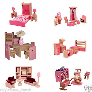 Brand-New-Pink-Wooden-Doll-House-Dolls-House-Furniture-6-Room-Set-amp-6-dolls