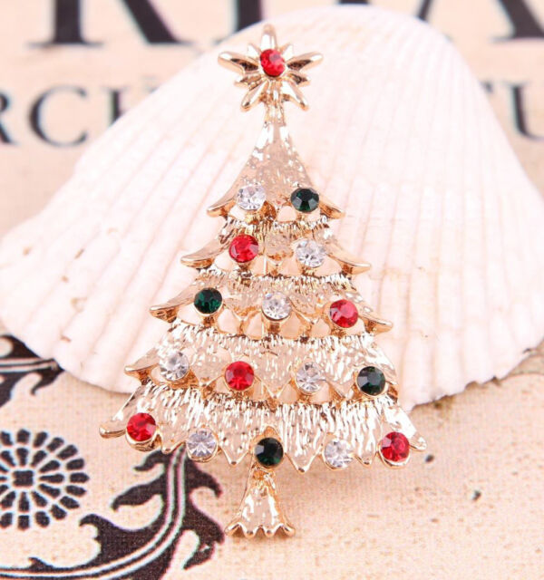 Xmas Tree Crystal Gold Plated Brooch Pin Christmas Gift Jewelry Lovely 2015