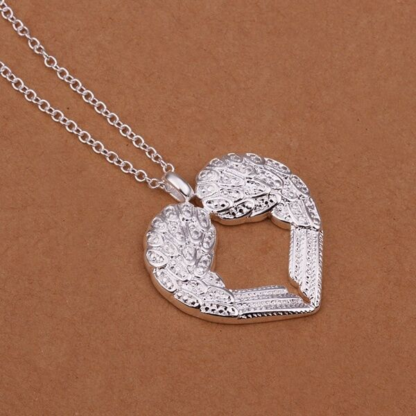 Silver Plated Charm Lady Angel Wings Hollow Heart Chain Pendant Necklace