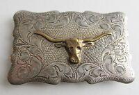 Vintage Belt Buckle Sterling Silver Cowboy Texas Longhorn Steer Western