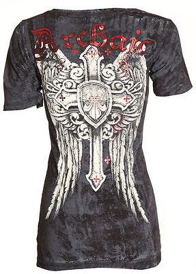 Archaic AFFLICTION Womens T-Shirt EXALT Cross Wings Tattoo Biker Sinful S-XL $32
