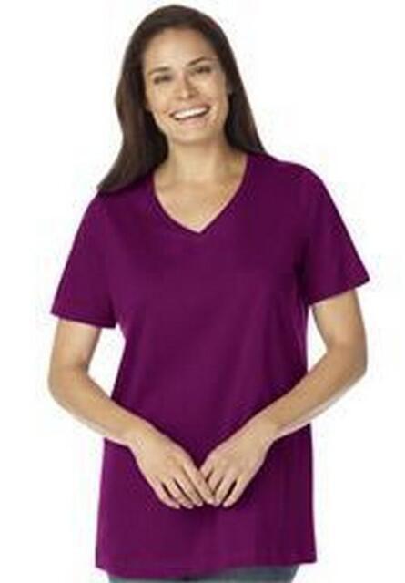 Women's Plus Perfect V Neck T Shirt in Purple Short Sleeves NIP
