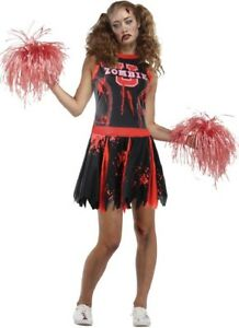Ladies-Dead-Head-Cheerleader-Sports-Zombie-Halloween-Fancy-Dress-Costume-Outfit