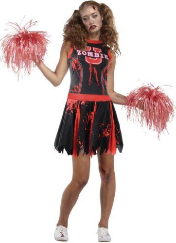 Ladies Dead Head Cheerleader Sports Zombie Halloween Fancy Dress Costume Outfit