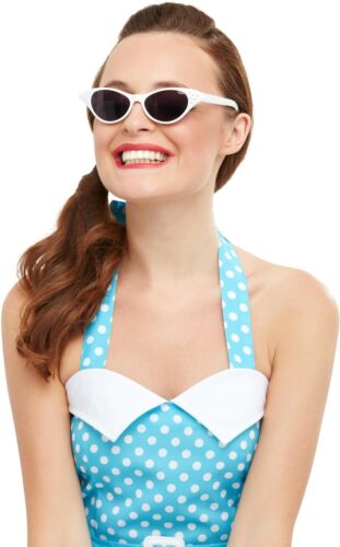 Ladies 1950s White Sunglasses Glasses Rock n Roll Lady Fancy Dress by Smiffys