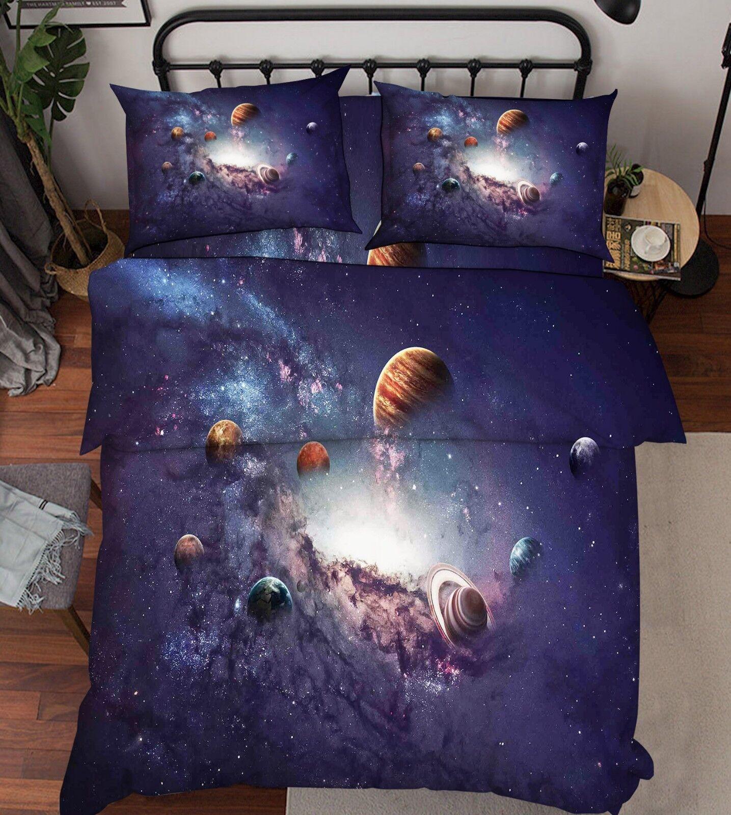 3D Milky Way Planet 6 Bed Pillowcases Quilt Duvet Cover Set Single King UK Lemon