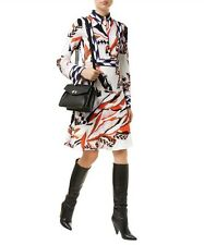 New Emilio Pucci Italy Mountain Print Stretch Cady Crepe Shirt Dress, 42, 8