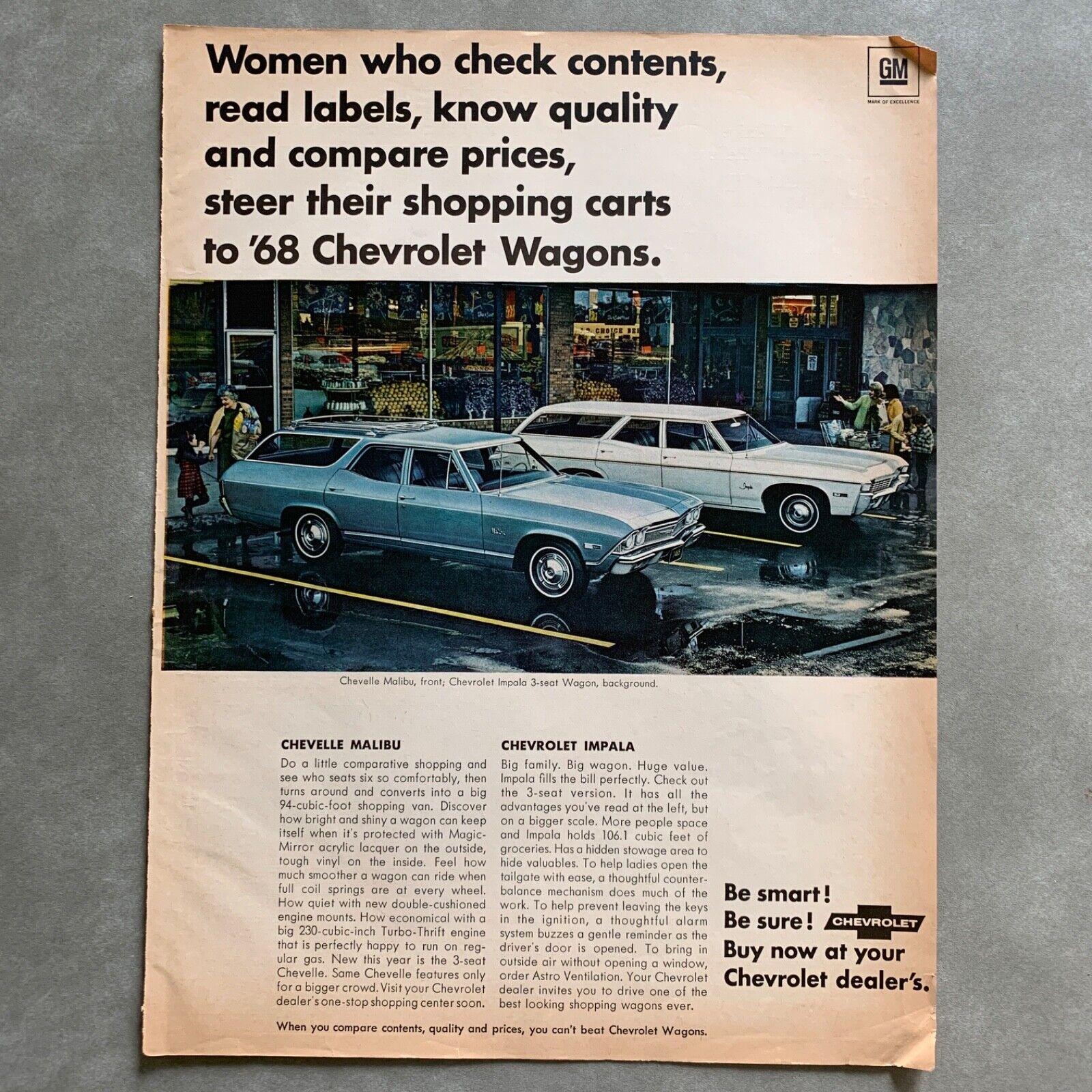 1968 Chevrolet Caprice Impala Bel Air Chevelle Malibu FL Station Wagon Brochure