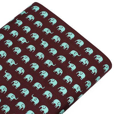 FQ ALL OVER ELEPHANT CARTOON RETRO PRINT Cotton Fabric Dress Quilting Craft VA61