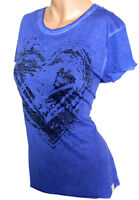Fuga Shirt Rückencutout Herz Blau Gr. S M 36 38 40 42 Neu - S126