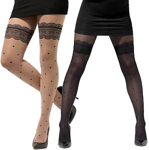 Ladies Sheer Nude Or Black Mock Hold-ups Polka Dot Fancy Dress Tights Stockings