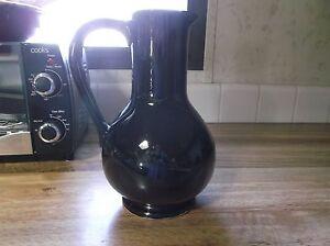 Vintage-McCoy-Pottery-Carafe-Pitcher-High-Gloss-Black-Glaze-Very-Nice