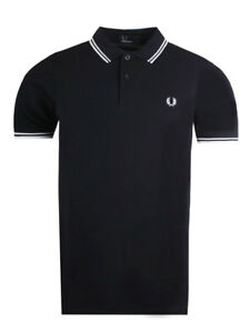 b4fb0357 Fred Perry Mens Twin Tipped Polo Shirt in Navy / White | eBay