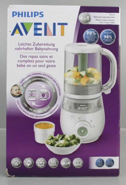 Philips Avent Nahrungszubereiter 4 in 1 Dampfgarer /& Mixer