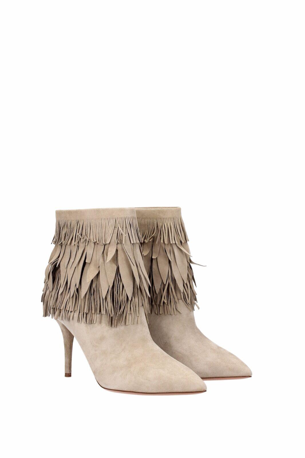 AQUAZZURA Sasha Sasha Sasha Fringe Beige grau Ankle Stiefelies Suede Stiefel 37 US 7 fba503