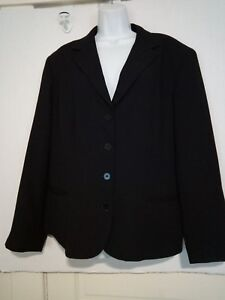 Evan-Picone-Size-16-Poly-Black-Blazer-2-Front-Pockets-4-Button-Lined