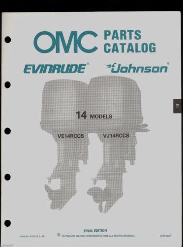 JOHNSON  PARTS MANUAL 14 HP 1988 OMC  EVINRUDE 432214