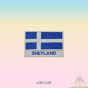 SHETLAND UK County Flag With Name Embroidered Iron On Patch Sew On Badge