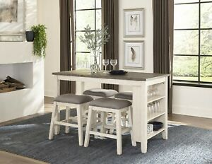 Details about WHITEWASH WOOD COUNTER HEIGHT STORAGE DINING TABLE 4 GREY  STOOLS FURNITURE SET