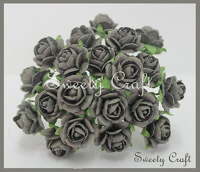 100 Gray color Mulberry Paper Rose Flower handmade size 1 cm. Wedding , card
