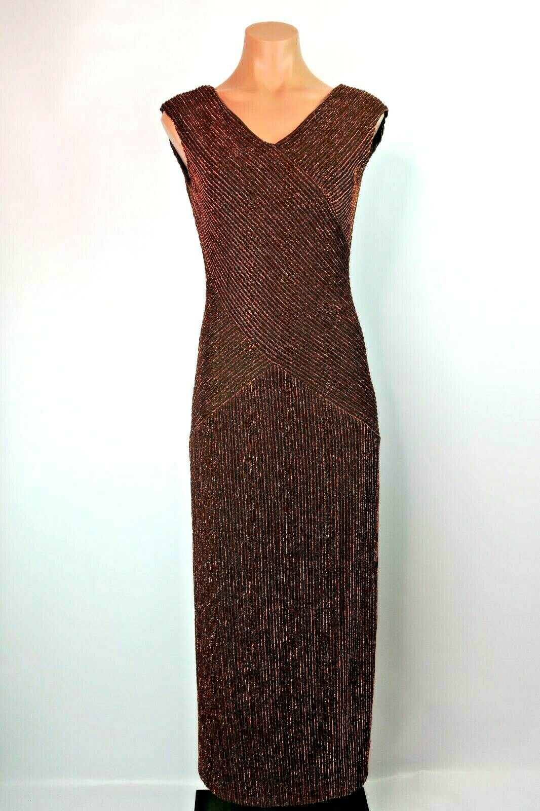 Alex Evenings 6 6P Petite Dress Bronze LAME Metallic Long Evening Formal Long