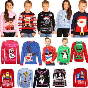 New-Childrens-Boys-Girls-Xmas-Christmas-Kids-Winter-Jumper-Sweater-Knitted-Retro