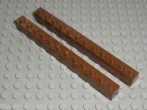 2-x-LEGO-WESTERN-OldBrown-brick-1x12-ref-6112-Set-6765-6764-5846-6755