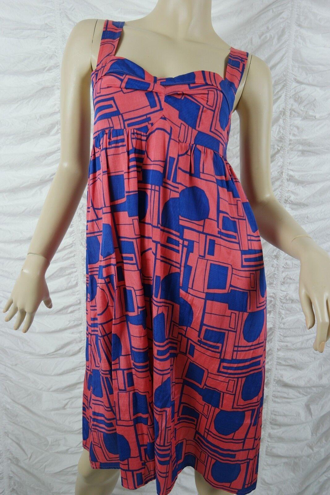 WISH rot melon Blau geometric print empire waist baby doll dress Größe 10 BNWT