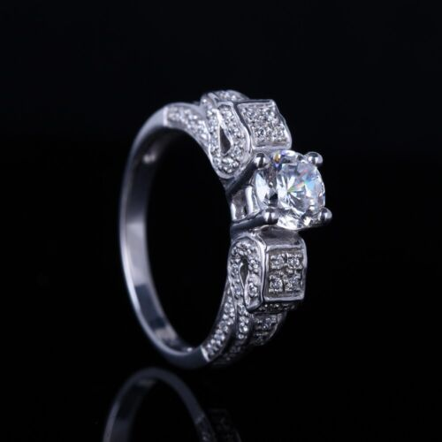Special Shank Sterling Silver Flawless Cubic Zirconia Engagement Wedding Ring